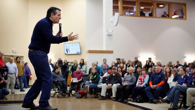 Republican presidential candidate, Sen. Ted Cruz, R-Texas speaks at a town hall-style campaign event, Monday, Feb. 8, 2016, in Barrington, N.H.