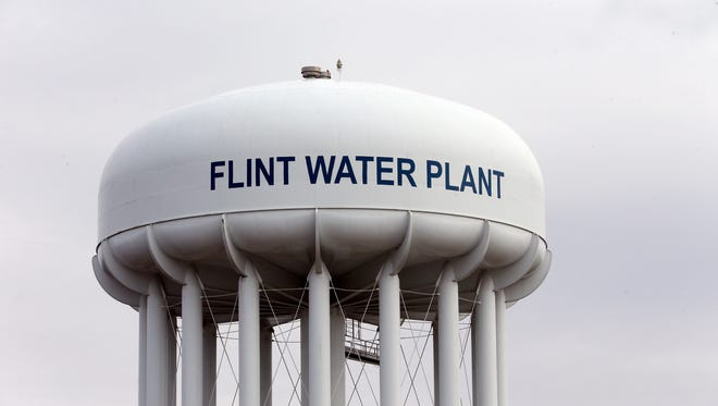 A water tower in Flint, Michigan, is shown. Flint is under a state of emergency after it was discovered drinking water was not properly treated.