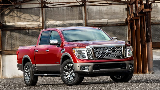 –A photo of the 2017 Nissan Titan that the company showed Thursday at the 2016 Chicago Auto Show. The pickup is expected to go on sale this summer.