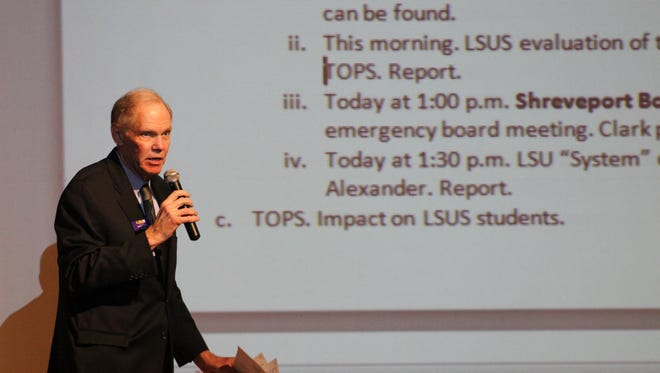 LSUS Chancellor Larry Clark discussed the university's financial future, including TOPS availability, Friday with faculty, staff and students.
