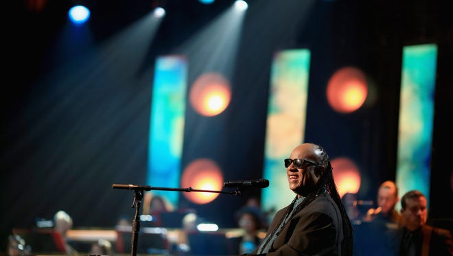 Stevie Wonder performs for his friend Lionel during the MusiCares Person of the Year event Saturday.