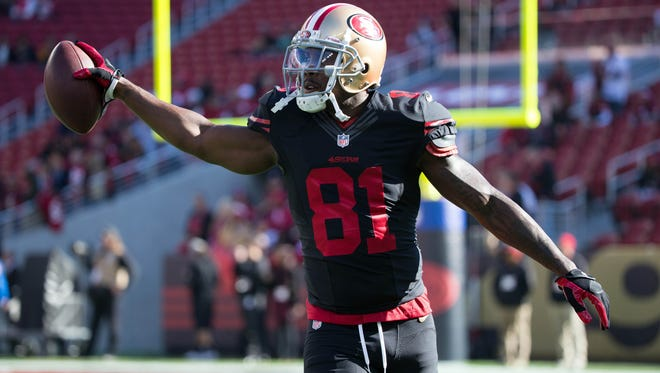 Nov 29, 2015; Santa Clara, CA, USA; San Francisco 49ers wide receiver Anquan Boldin (81) during warm ups before the game against the Arizona Cardinals at Levi's Stadium. Mandatory Credit: Kelley L Cox-USA TODAY Sports