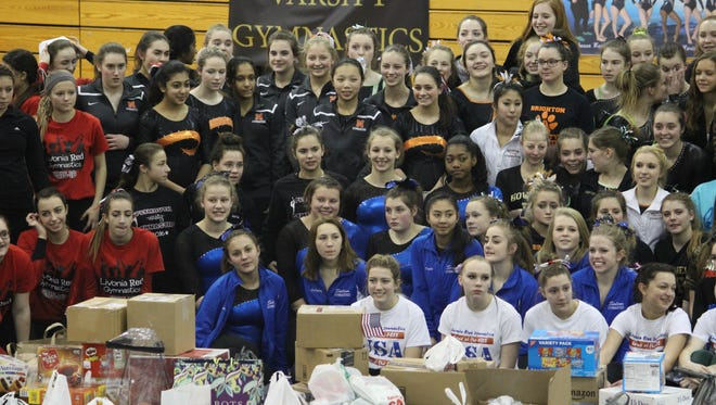 KLAA gymnastics collected supplies for U.S. troops who are stationed overseas.