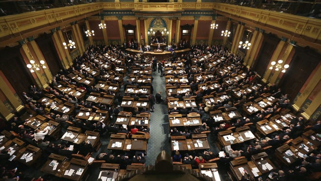 A joint session of the Michigan Legislature in the Capitol in Lansing.
