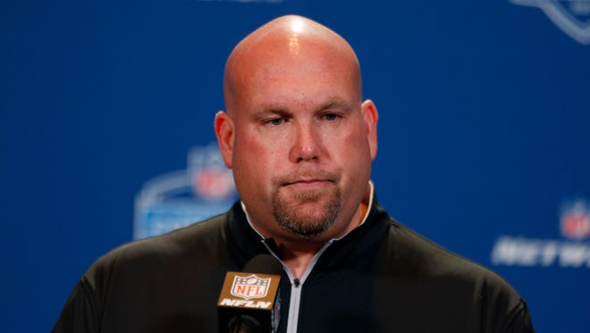 Arizona Cardinals general manager Steve Keim speaks to the media during the 2016 NFL Scouting Combine at Lucas Oil Stadium.