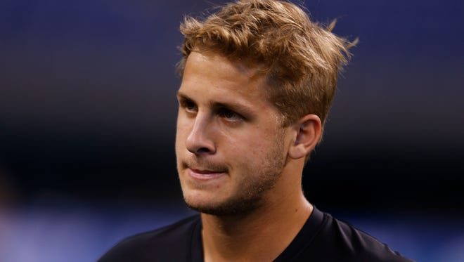California Golden Bears quarterback Jared Goff works out during the 2016 NFL Scouting Combine at Lucas Oil Stadium.