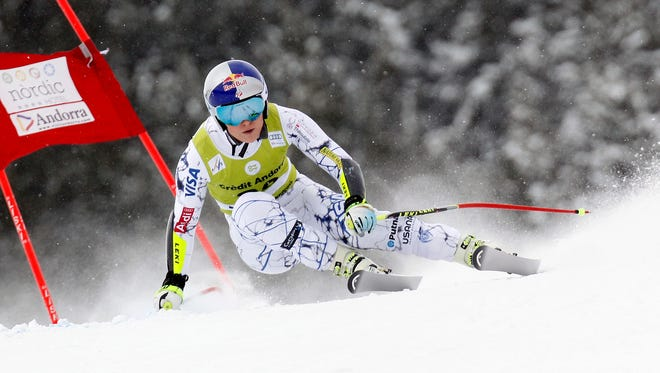 Lindsey Vonn of the USA competes during the Audi FIS Alpine Ski World Cup Women's Super Combined on Feb. 28, 2016 in Soldeu, Andorra.