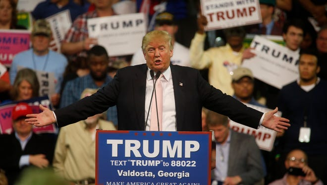 Presidential Hopeful Donald Trump holds a rally with more than 5,000 attendees at the Valdosta State University Complex Monday, Feb. 29, 2016.