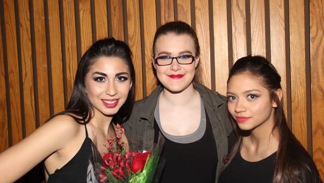 Tristan Fournier, left to right, Kristen Stephenson and Celeste Ruvalcaba.