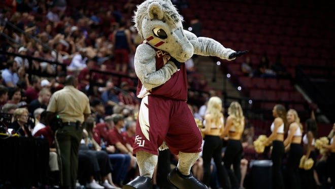 FSU's mascott Cimarron dances during a timeout against Davidson in their NIT Tournament game at the Tucker Civic Center Tuesday, March 15, 2016.
