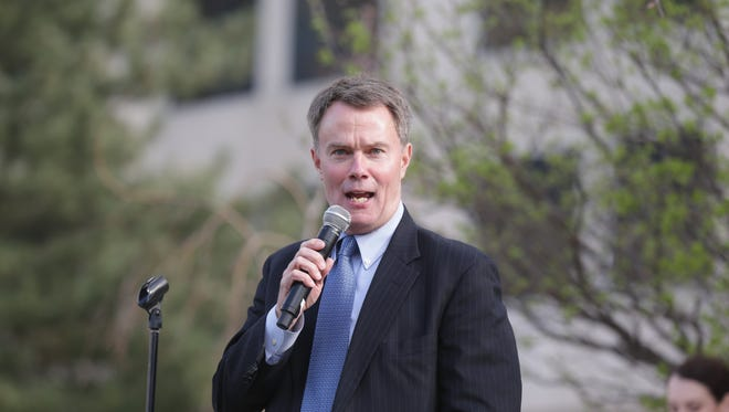 Indianapolis Mayor Joe Hogsett speaks during the annual Hoosier Lottery Greening of the Canal.