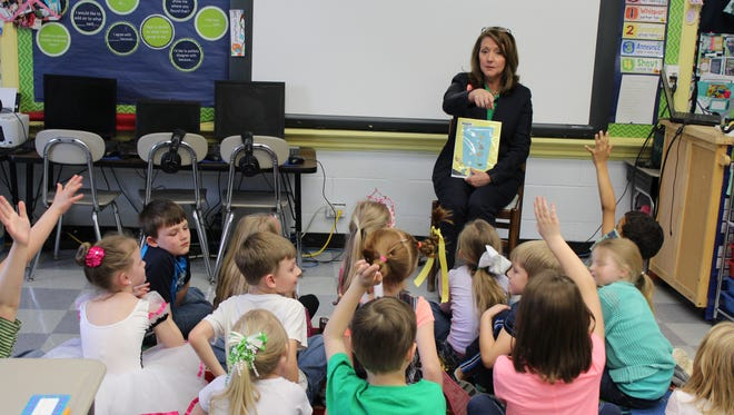 Tennessee First Lady Crissy Haslam read to elementary school students Thursday in Erin.