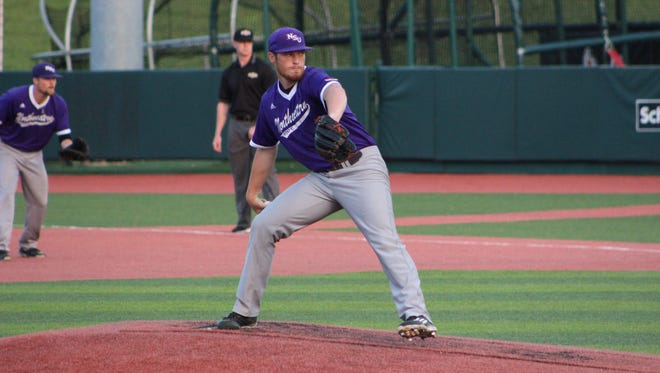 Northwestern State's Adam Oller prepares to throw a pitch during Friday's game.