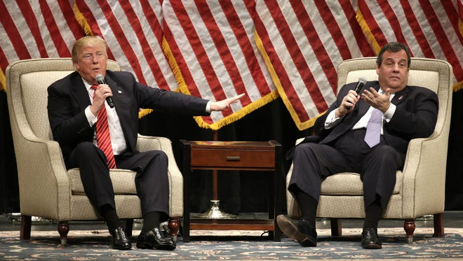 Donald Trump and  Gov. Chris Christie hold an interview-style rally on March 14 at Lenoir-Rhyne University in Hickory, North Carolina.