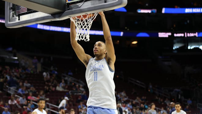 North Carolina Tar Heels forward Brice Johnson (11) during practice the day before the semifinals of the East regional of the NCAA Tournament at Wells Fargo Center.