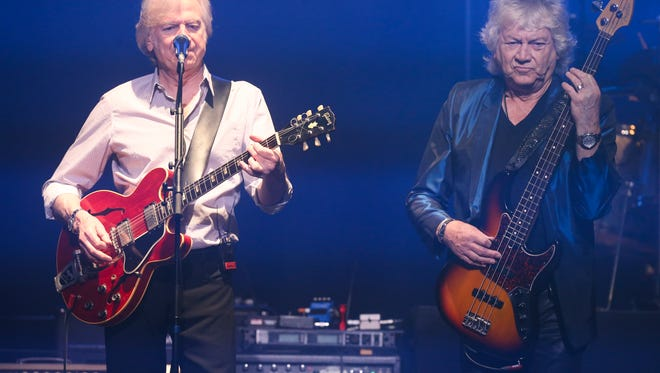 John Lodge, right, and Justin Hayward of the Moody Blues perform during a concert at the Louisville Palace.Mar. 30, 2016