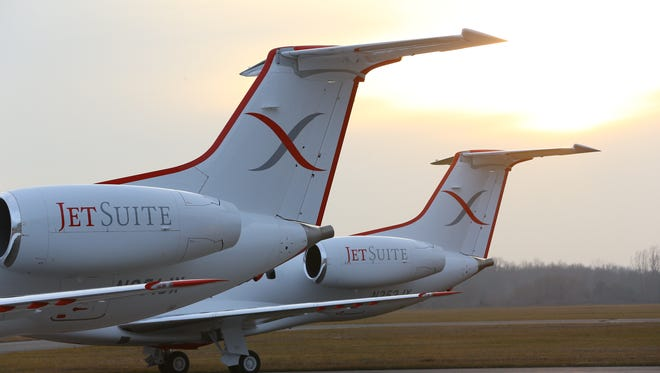 JetSuiteX's new Embraer aircraft are seen with their new livery in this undated file photo.
