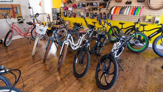 Pedego in Spring Lake stocks many models of electric bicycles for rent or sale.