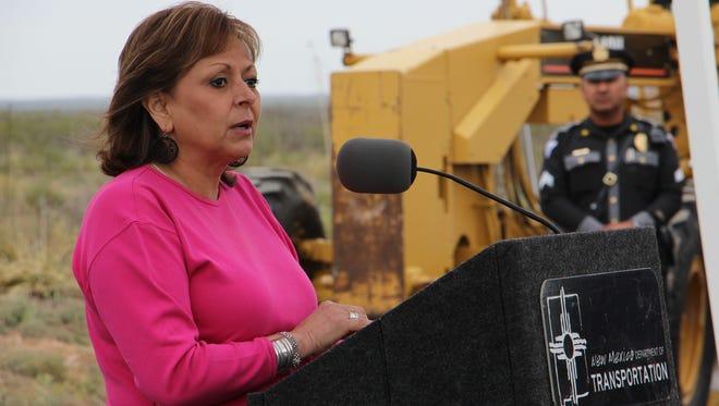 Gov. Martinez speaks at the US 285 road repair groundbreaking.