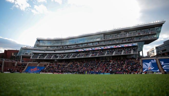 Nippert Stadium in the first half during the USL soccer game between the Charlotte Independence (1-1-0) and FC Cincinnati (1-1-0), Saturday, April 9, 2016, at Nippert Stadium in Cincinnati.