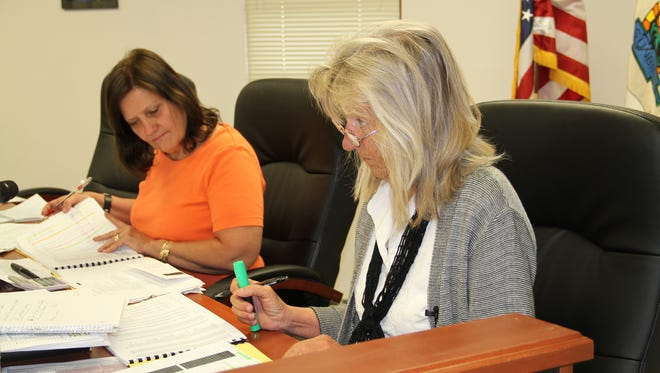 County Commission Chairman Susan Flores and County Commissioner Janet White discussed the count'y interim budget for fiscal year 2016-2017 Thursday morning in a special meeting.