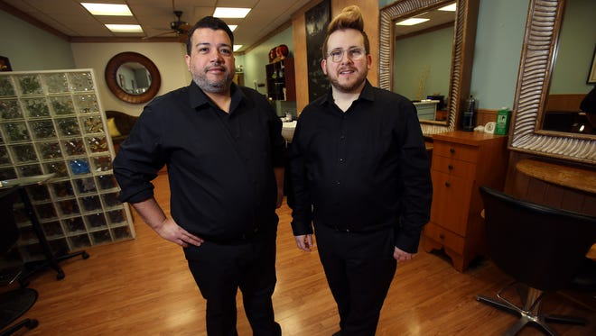 46 West Hair Studio in Rockaway is doing a fundraiser on Sunday, April 24, 'Hair Cuts For A Cause!'  to raise funds for Family Promise. Owners Gabe Ropi, l, Michael Schulz. April 14, 2016. Rockaway, N.J.