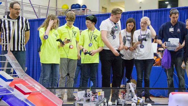 "Hurricane High School's ""Black Ops"" team competes in a FIRST Tech Challenge competition in this submitted photo."