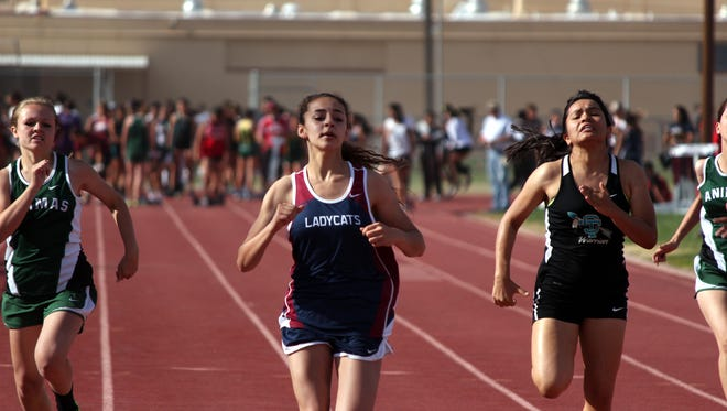 Freshman Gabby Cardenas finishes first in her heat in the 100m dash at the Therman Jordan Relays meet. The meet was Deming's only home meet for the season, with the team traveling to Las Cruces for the John Mirimanian Track Meet next weekend.