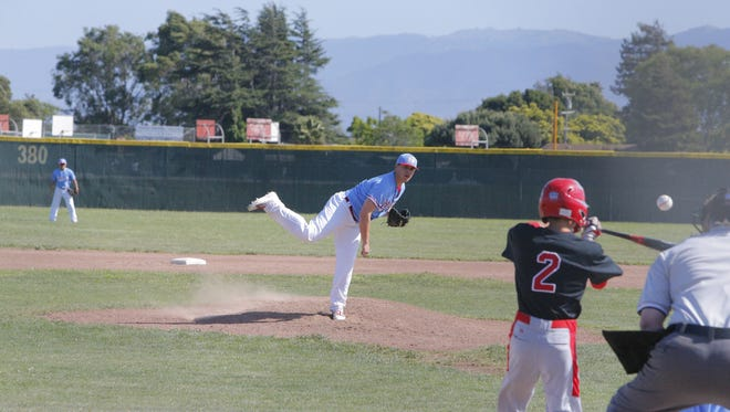 North Salinas' Timothy Burkhardt throws a pitch during Monday's game against Seaside.