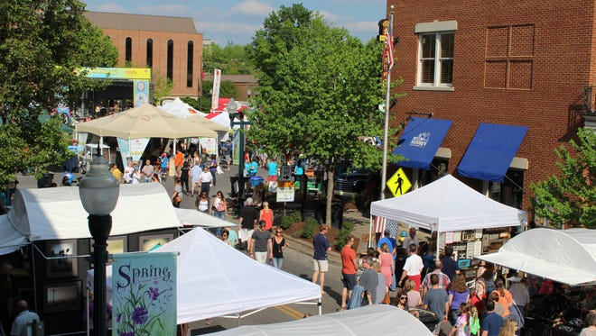 A view of Franklin's Main Street Festival from the bar at Grey's.