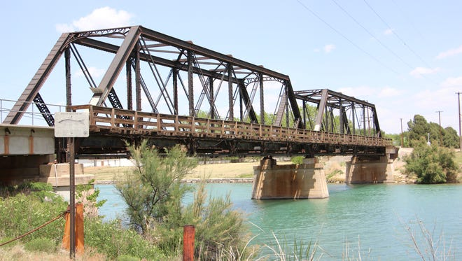 Train bridge by the Pecos River.