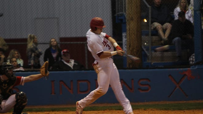Montgomery Central's Bill Hamilton (3) hits a double off a Rossview pitcher during a game at the beginning of the season.
