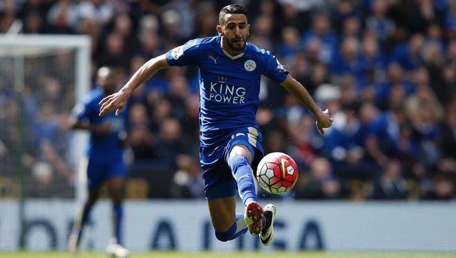Leicester City's Algerian midfielder Riyad Mahrez controls the ball during the English Premier League football match between Leicester City and West Ham United.