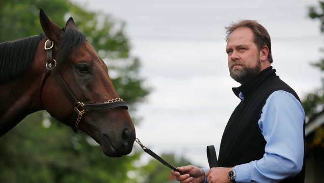 Trainer Doug O'Neill with Kentucky Derby favorite Nyquist.