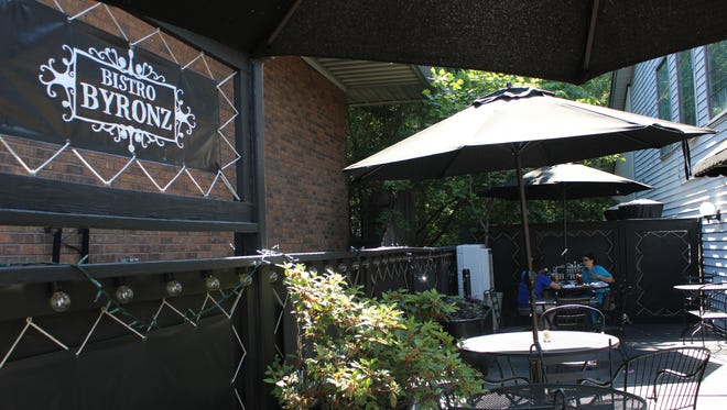 Bistro Byronz's patio is tucked away on the side of the restaurant, offering intimacy and shade.