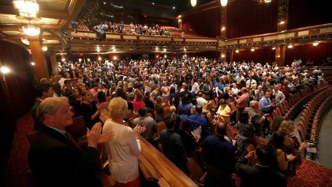 Attendees applaud the nominees of the Best and Brightest Awards as they enter Ruby Diamond Concert Hall on FSU's Campus Wednesday, May 11, 2016.