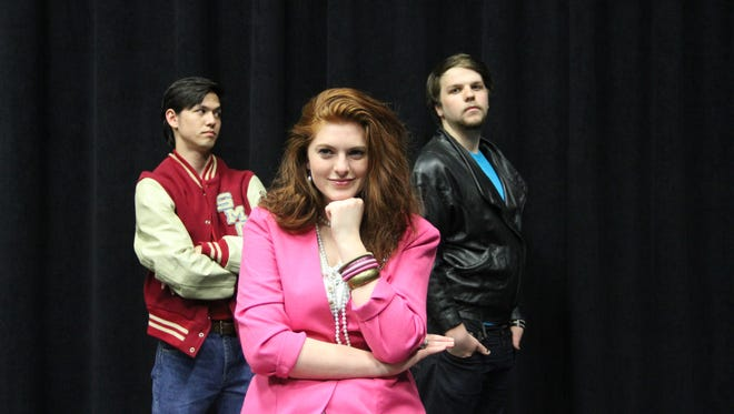 """Stephen Nielson as Posthumus, from left, Lindsay Spear as Imogen and Declan Hertel as Iachimo star in Western Oregon University's upcoming production of Shakespeare's """"Cymbeline."""" Performances are May 25-28 and at Rice Auditorium."""