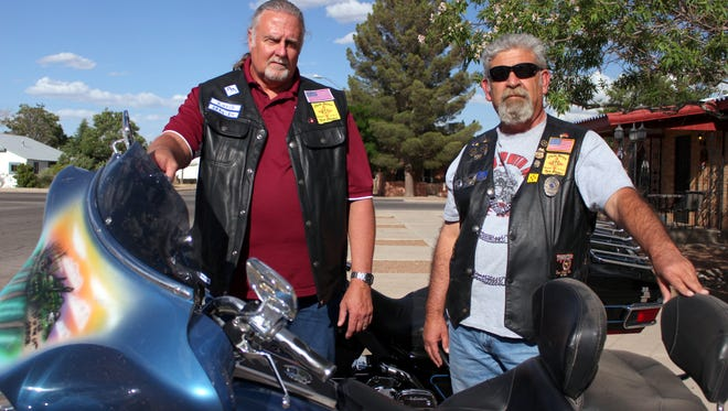 Larry Srader, left, and Armando Carrillo look over their bikes in preparation for the fourth annual Fallen Officer Bike Run at 9 a.m. on Saturday at the Deming Elks Lodge, 3401 Raymond Reed Blvd.