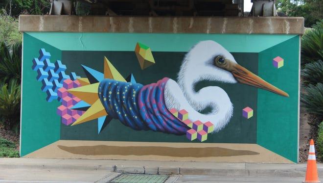 BirdO's Egret mural by the pedestrian bridge on South Monroe near Cascades Park. (1 of 2).