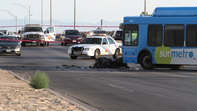 A motorcyclist died after a collision with a Sun Metro bus about 5 p.m. Wednesday at the intersection of George Dieter and Bob Mitchell drives. The El Paso Police Department said the motorcyclist allegedly was speeding and ran a red light.