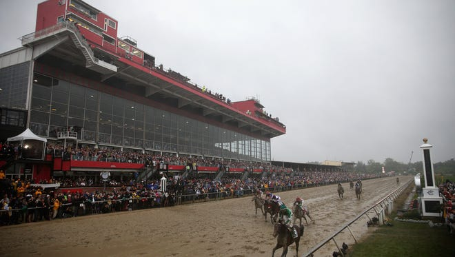 BALTIMORE, MD - MAY 21:  Exaggerator ridden by Kent Desormeaux leads the field to win the 141st running of the Preakness Stakes at Pimlico Race Course on May 21, 2016 in Baltimore, Maryland.  (Photo by Patrick Smith/Getty Images)