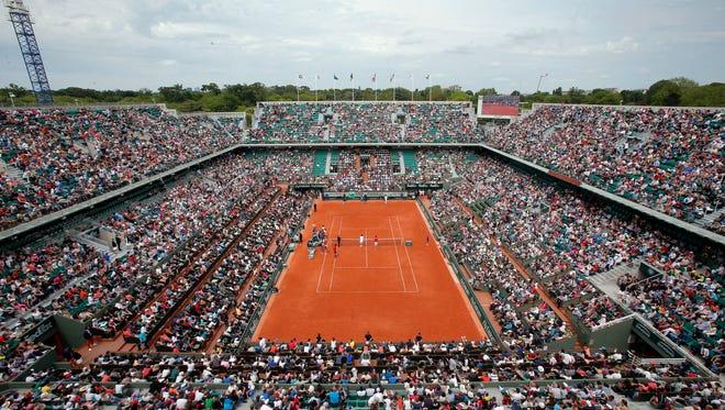 Roland Garros during an exhibition on Saturday.