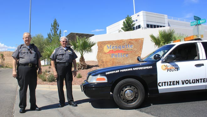 Jon Osgood and Don Woodmancy volunteer their time for the Mesquite Police Department.