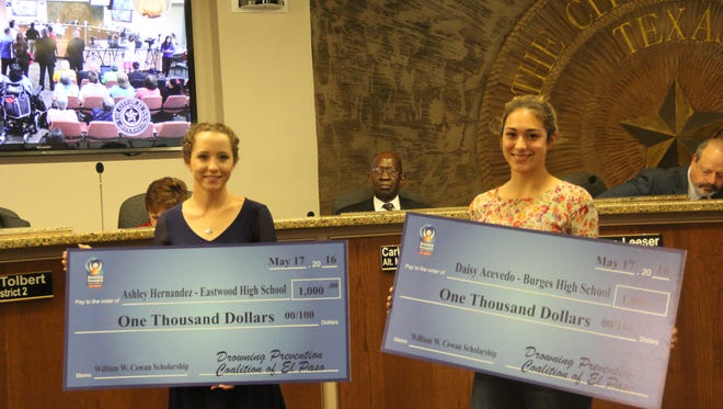 Ashley Hernandez from Eastwood High School and Daisy Acevedo of Burges High School have been  named the recipients of the William W. Cowan III Scholarship from the Drowning Prevention Coalition of El Paso