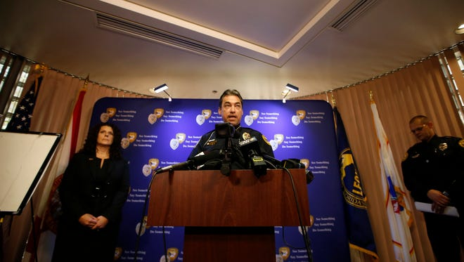 Tallahassee Police Chief Michael DeLeo speaks during a press conference Thursday at the TPD station, detailing the arrest Sigfredo Garcia, 34, in connection with the July 2014 shooting death of Florida State University law professor Dan Markel.