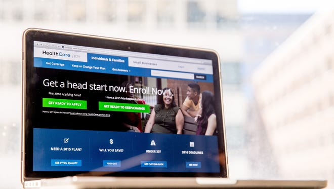 In this Oct. 6, 2015, file photo, the HealthCare.gov website, where people can buy health insurance, is displayed on a laptop screen in Washington.