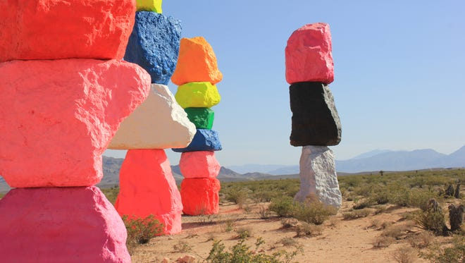 Approximately 16 million cars will drive past the Seven Magic Mountains throughout the two-year period the land art stays in place off of Interstate-15 30 miles south of Las Vegas.