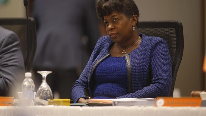 President Elmira Mangum listens in during a FAMU Board of Trustees meeting on the university's campus Friday.