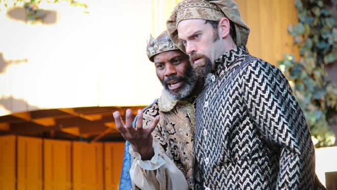 """Dathan Hooper as Leontes, KIng of Sicilia, and Jeremy Sapp as Camilio, a Sicilian lord, in Kentucky Shakespeare's 2016 production of William Shakespeare's """"The Winter's Tale."""""""