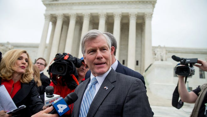 FILE - In this April 27, 2016 file photo, former Virginia Gov. Bob McDonnell speaks outside the Supreme Court in Washington. On Monday, June 27, 2016, The Supreme Court overturned the bribery conviction of McDonnell. (AP Photo/Andrew Harnik)
